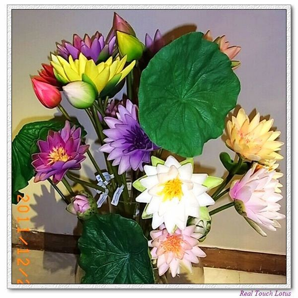 Artificial silk flowers lotus stem real touch pu lotus leaf small size mightylinksfo